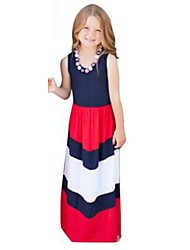 Girl's Birthday Casual/Daily Holiday Striped Dress,Cotton Summer Sleeveless