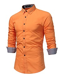 Men's Daily Plus Size Casual Spring Fall Shirt,Solid Shirt Collar Long Sleeves Cotton Medium