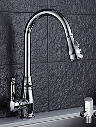 cheap -Contemporary Vessel Widespread Rotatable Pull out Ceramic Valve Chrome, Kitchen faucet