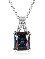 abordables -Femme Luxe Autres Goutte Zircon cubique Zircon Plaqué or Pendentif de collier  -  Luxe Mode Arc-en-ciel Colliers Tendance Pour Mariage