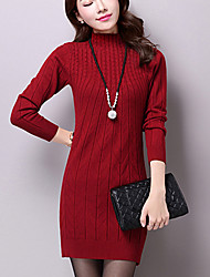 Women's Casual/Daily Work Street chic Sophisticated Sheath Dress,Solid Stand Above Knee Long Sleeves Others Fall Winter Mid Rise Stretchy