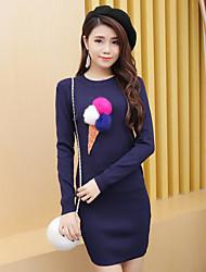 Damen Solide Muster Einfach Lässig/Alltäglich T-Shirt-Ärmel Hose Anzüge,Rundhalsausschnitt Herbst Lange Ärmel Mikro-elastisch