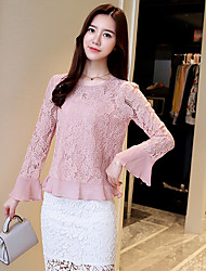 Women's Going out Casual/Daily Simple Winter Blouse,Solid Round Neck Long Sleeves Silk