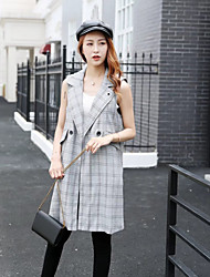 Women's Sports Going out Simple Spring Fall Vest,Solid Color Block Plaid Notch Lapel Sleeveless Regular Others