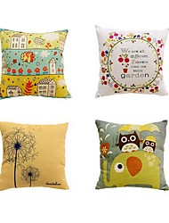 4 pcs Cotton/Linen Bed Pillow Body Pillow Travel Pillow Sofa Cushion Pillow CoverArt Deco Mixed Color Graphic Prints Artistic Pattern