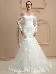 Mermaid / Trumpet Off-the-shoulder Chapel Train Lace Tulle Wedding Dress with Appliques by LAN TING BRIDE®