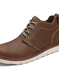 cheap -Men's Boots Comfort Combat Boots Spring Fall PU Casual Lace-up Flat Heel Light Brown Coffee Black Flat