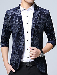 Men's Casual/Daily Chinoiserie Fall Blazer,Print V Neck Long Sleeve Regular Cotton