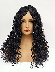 Women Synthetic Wig Capless Long Curly Dark Black Middle Part Natural Wigs Costume Wig