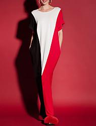abordables -Tee Shirt Robe Femme Sortie Décontracté / Quotidien simple Chic de Rue,Géométrique Couleur Pleine Col Arrondi Maxi Manches Courtes