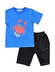 cheap -Boys' Print Clothing Set,Cotton Summer Short Sleeve Blue