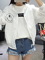 cheap -Women's Daily Simple Casual Summer Jacket,Print Hooded Long Sleeve Regular Polyester