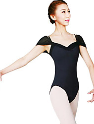 Ballet Women's Performance Nylon 1 Piece Short Sleeve Natural Leotard
