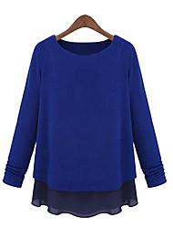 Standard Pullover Da donna-Casual Tinta unita Rotonda Manica lunga Cotone Primavera Autunno Medio spessore Media elasticità