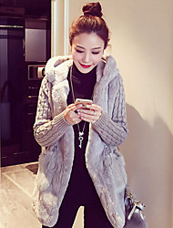 cheap -Women's Daily Plus Size Cute Active Punk & Gothic Winter Fur Coat,Solid Hooded Long Sleeve Regular Others