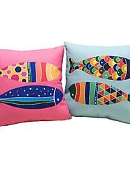 economico -2 pezzi Cotone/Lino Federa Sostegno per coperchio Cuscino da viaggio Cuscino lungo Cuscino da letto, Animal Vari colori Stampe astratte