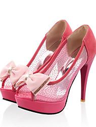 baratos -Mulheres Sapatos Arrastão / Couro Ecológico Verão / Outono Conforto / Inovador Saltos Salto Agulha Peep Toe Laço Preto / Bege / Rosa claro
