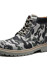 Men's Boots Combat Boots Fall Winter Leatherette Casual Outdoor Lace-up Low Heel Khaki Army Green Under 1in