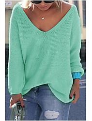 preiswerte -Damen Standard Pullover-Ausgehen Lässig/Alltäglich Einfach Solide V-Ausschnitt Langarm Acryl Herbst Mittel Mikro-elastisch