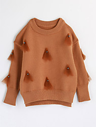 cheap -Girls' Color Block Blouse,Cotton Spring Fall Long Sleeve Brown