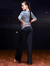 baratos -Dança Latina Blusas Mulheres Apresentação Seda Sintética Plissado 1 Peça Meia manga Natural Blusa