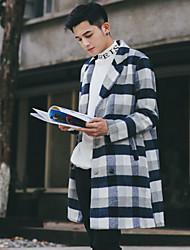 Masculino Casaco Casual Simples Outono Inverno,Estampa Colorida Padrão Algodão Poliéster Elastano Outros Mohair Colarinho Chinês Manga