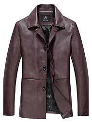 cheap -Men's Daily Plus Size Vintage Winter Fall Leather Jacket,Solid Peter Pan Collar Long Sleeve Regular PU Oversized