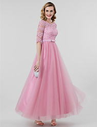 A-Line Princess Scoop Neck Ankle Length Lace Tulle Formal Evening Dress with Bow(s) Sash / Ribbon by TS Couture®