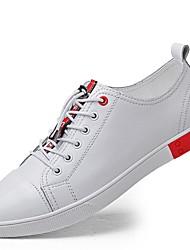 Herren Schuhe Echtes Leder Nappaleder Leder Frühling Herbst Komfort Tauchschuhe Sneakers Schnürsenkel Für Normal Weiß Schwarz