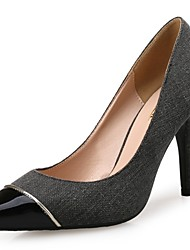 Women's Shoes Fabric Spring Fall Comfort Heels Pointed Toe Split Joint For Dress Light Grey Dark Grey