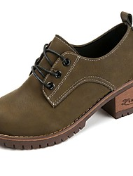 Women's Shoes PU Fall Comfort Oxfords Block Heel Round Toe Lace-up For Casual Army Green Black