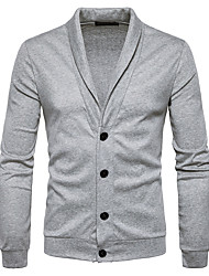 cheap -Men's Daily Casual Solid Shirt Collar Cardigan, Long Sleeves Winter Fall Polyester