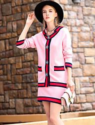 Dámské Jednobarevné Dovolená Běžné/Denní Jednoduchý Tričko Sukně Obleky-Podzim Zima Dlouhý rukáv Korálky Mikro elastické