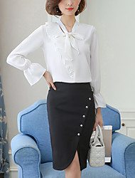 Women's Going out Work Sexy Street chic Sophisticated Fall Winter Blouse,Solid V Neck Long Sleeves Others Medium