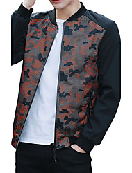 cheap -Men's Daily Going out Simple Casual Active Boho Street chic Winter Fall Jacket,Solid Print Camouflage Stand Long Sleeve Regular Polyester