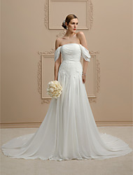cheap -A-Line Princess Strapless Cathedral Train Chiffon Wedding Dress with Buttons Ruching by LAN TING BRIDE®