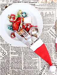 4pcs/Set Christmas Hat Cutlery Favor Bag / Xmas Party Supplies Beter Gifts® Dinner Decor