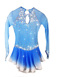 Figure Skating Dress Women's Girls' Ice Skating Dress Pale Blue Spandex Rhinestone High Elasticity Performance Skating Wear Handmade Solid