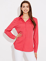 Women's Casual/Daily Simple Shirt,Solid Shirt Collar Long Sleeves Cotton Thin