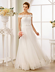 abordables -Corte en A Princesa Hasta el Suelo Encaje Tul Vestido de novia con Fajas / Cintas Fruncido por LAN TING BRIDE®