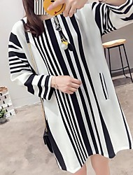 Women's Beach Going out Simple Street chic Loose Sweater Dress,Striped Color Block Round Neck Above Knee Long Sleeves Cotton Acrylic