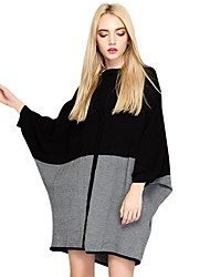 Women's Going out Casual/Daily Street chic Punk & Gothic Sophisticated Loose Sweater DressColor Block Round Neck Above Knee Long Sleeves