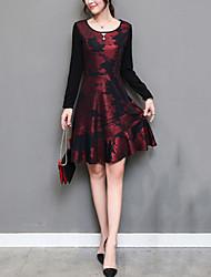 Gaine Robe Femme Sortie Grandes Tailles Chic de Rue,Imprimé Col Arrondi Mi-long Manches Longues Polyester Automne Hiver Taille Normale