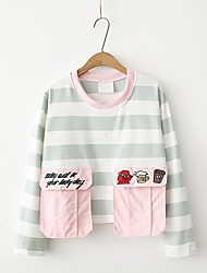 Women's Sports Beach Casual/Daily Sexy Cute Summer Fall T-shirt,Striped Color Block Round Neck Long Sleeves Cotton Others Thin Medium