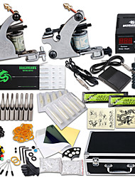 cheap -Tattoo Machine Professional Tattoo Kit 2 steel machine liner & shader High Quality LCD power supply 2 x aluminum grip 30 Classic Daily