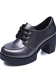 cheap -Women's Oxfords Light Soles Summer PU Casual Lace-up Block Heel Silver Black 2in-2 3/4in