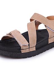 abordables -Mujer Zapatos Goma Verano Confort Sandalias Paseo Media plataforma Hebilla Para Negro Caqui