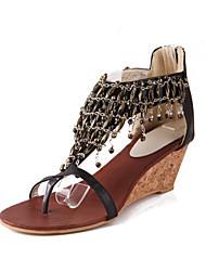 baratos -Feminino Sapatos Couro Ecológico Verão Outono Conforto Inovador Sandálias Anabela Dedo Aberto Tachas Ziper Para Casamento Festas & Noite