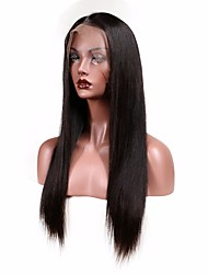 cheap -Women Human Hair Lace Wig Peruvian Human Hair Glueless Lace Front 130% Density With Baby Hair Straight Wig Medium Brown Dark Brown Black