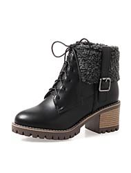 Damen Schuhe PU Herbst Winter Komfort Stiefel Blockabsatz Runde Zehe Schnürsenkel Für Weiß Schwarz Beige